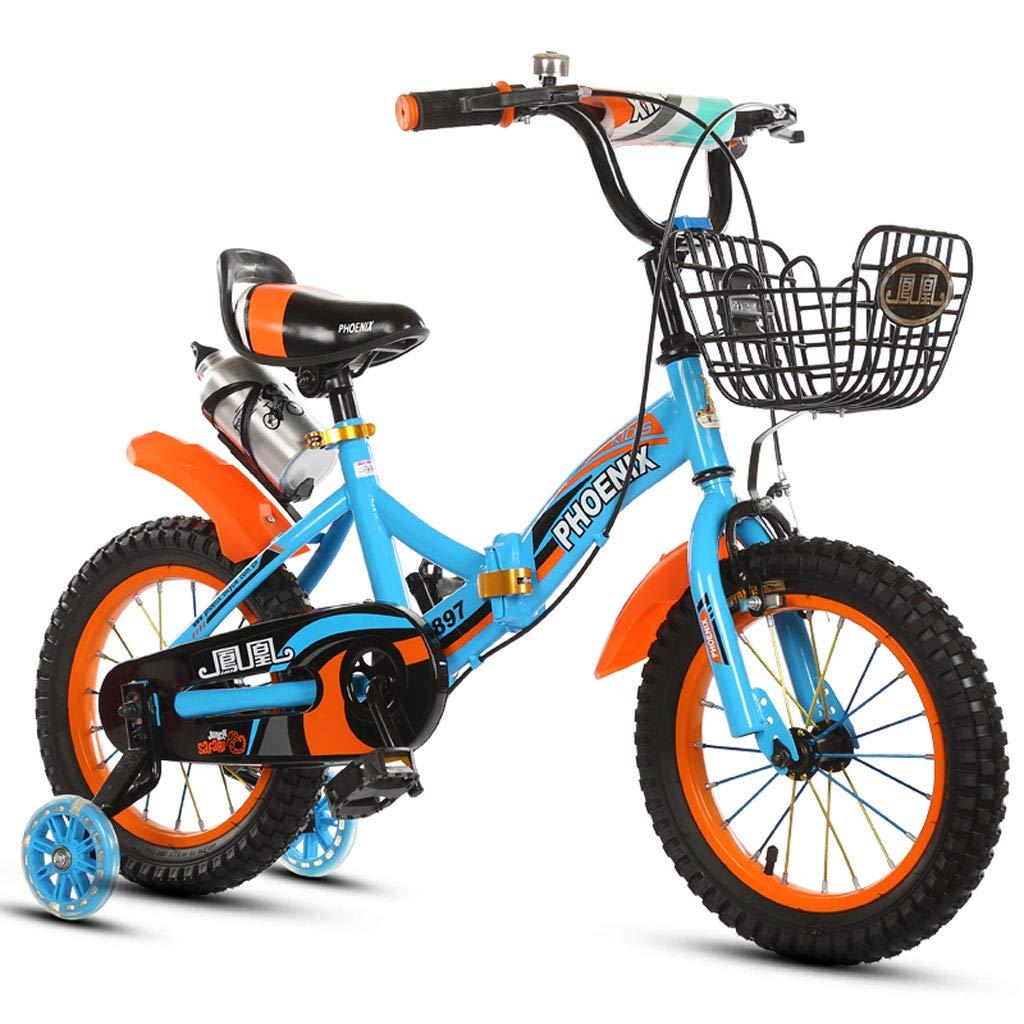 【在庫限り】 子供の自転車2-3-5-6-8歳の衝撃吸収の乳母車12/14/16 B07PRSX5XC Blue 18in/18インチ折り畳み式の子供の自転車子供の自転車 - ウォーターボトル補助ホイール付き 18in Blue B07PRSX5XC, 田方郡:05c145b3 --- senas.4x4.lt