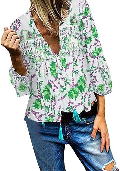 SMILEQ Camisetas de Mujer, Estampado de Flores, Escote en V, Manga Larga Verde L: Amazon.es: Ropa y accesorios