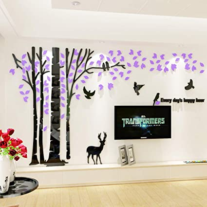 Outstanding 3D Couple Tree Wall Decals Purple Diy Wall Stickers For Living Room Bedroom Tv Sofa Backdrop Home Decor Art Decorations Style C M Interior Design Ideas Oteneahmetsinanyavuzinfo