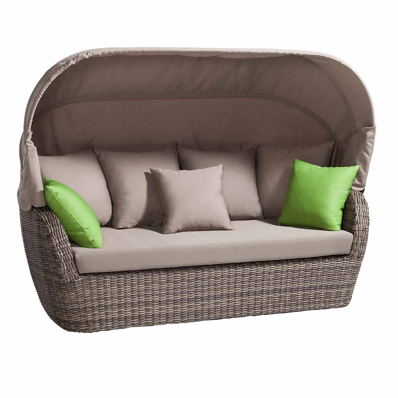 gartensofa polyrattan outliv roma loungesofa mit dach geflecht dark wood taupe gartencouch. Black Bedroom Furniture Sets. Home Design Ideas