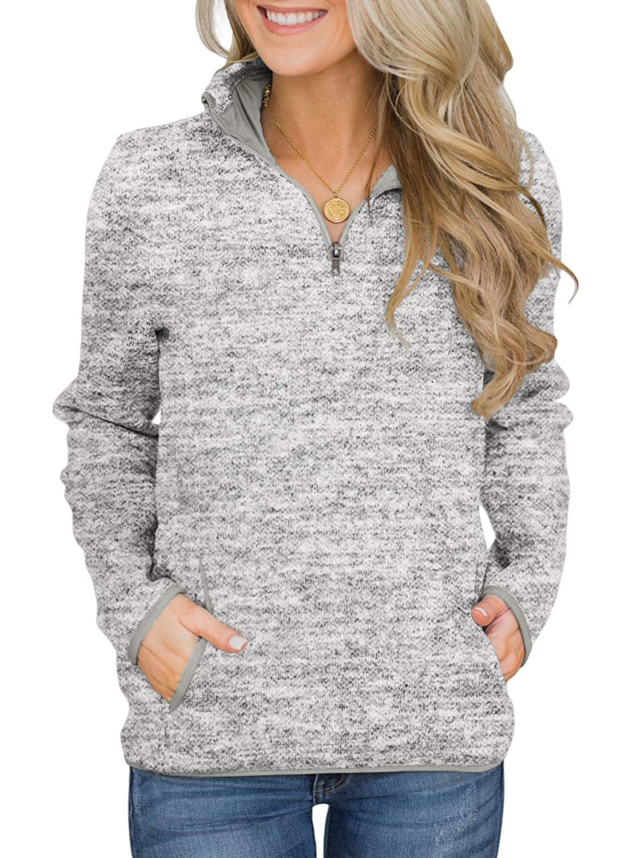 5 Colors S-XXL AlvaQ Women Quarter Zip Casual Pullover Sweatshirt Tops with Pockets
