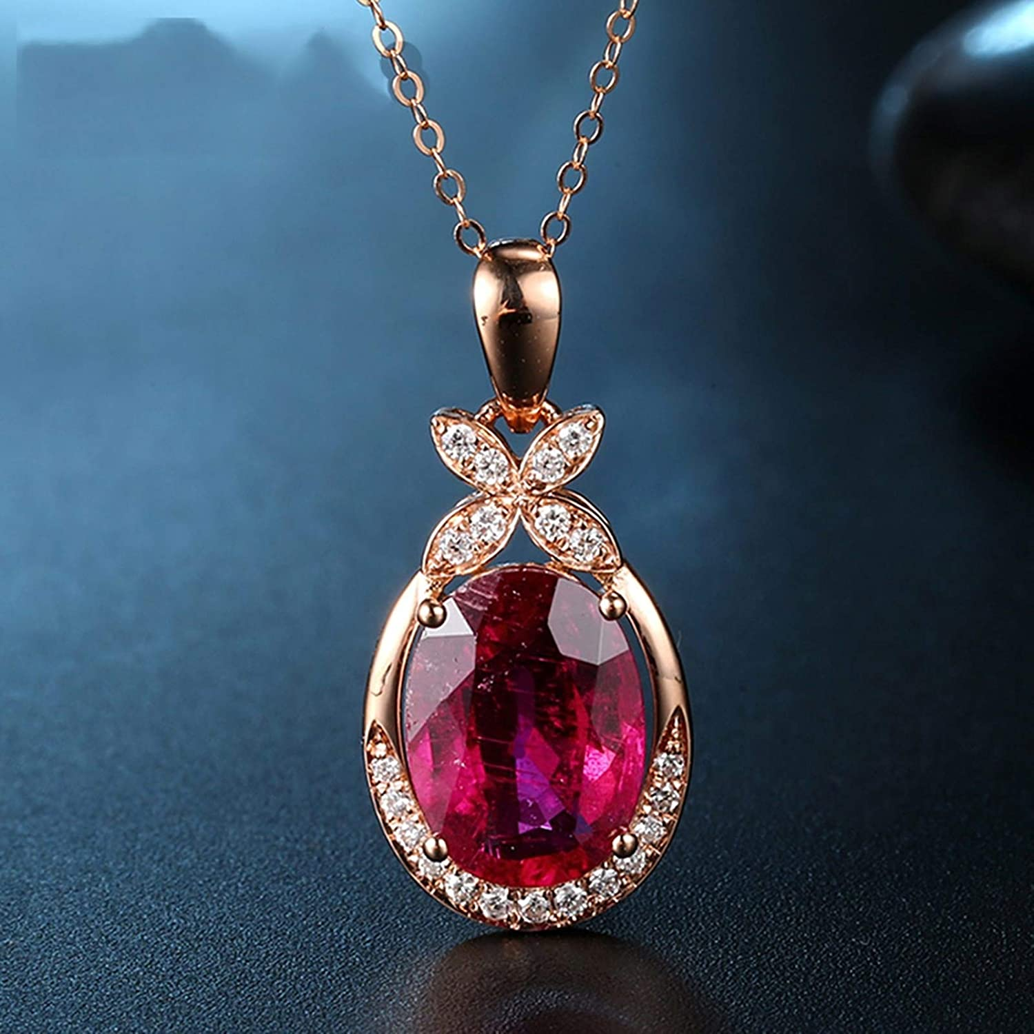 Daesar Sterling Silver Womens Necklace Eternal Love Teardrop Inlaid Crystal Red Pendant Necklace