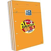 Oxford Scolaire 100107098  Lot de 3 Bloc-notes agrafé + perforé 210X315 160 Pages 80 G Q5/5