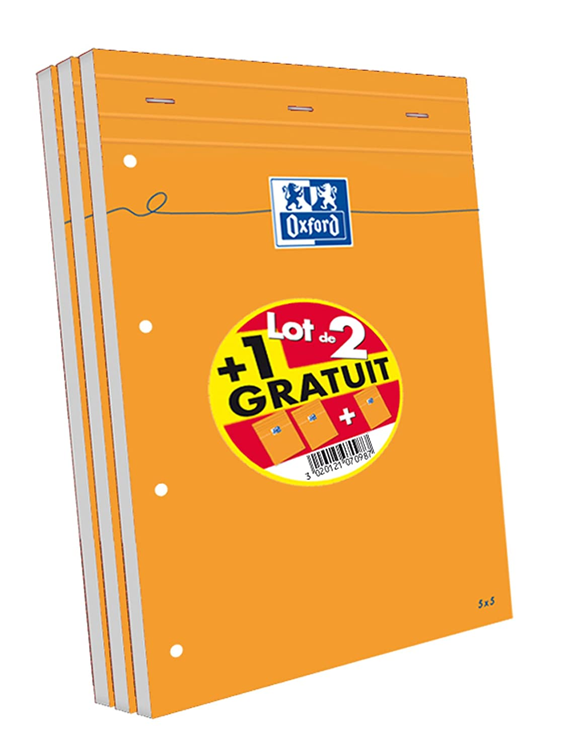 Oxford Scolaire 100107098 Lot de 3 Bloc-notes agrafé + perforé 210X315 160 Pages 80 G Q5/5