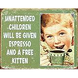 Ephemera - Unattended Children Tin Sign 16 x 12in