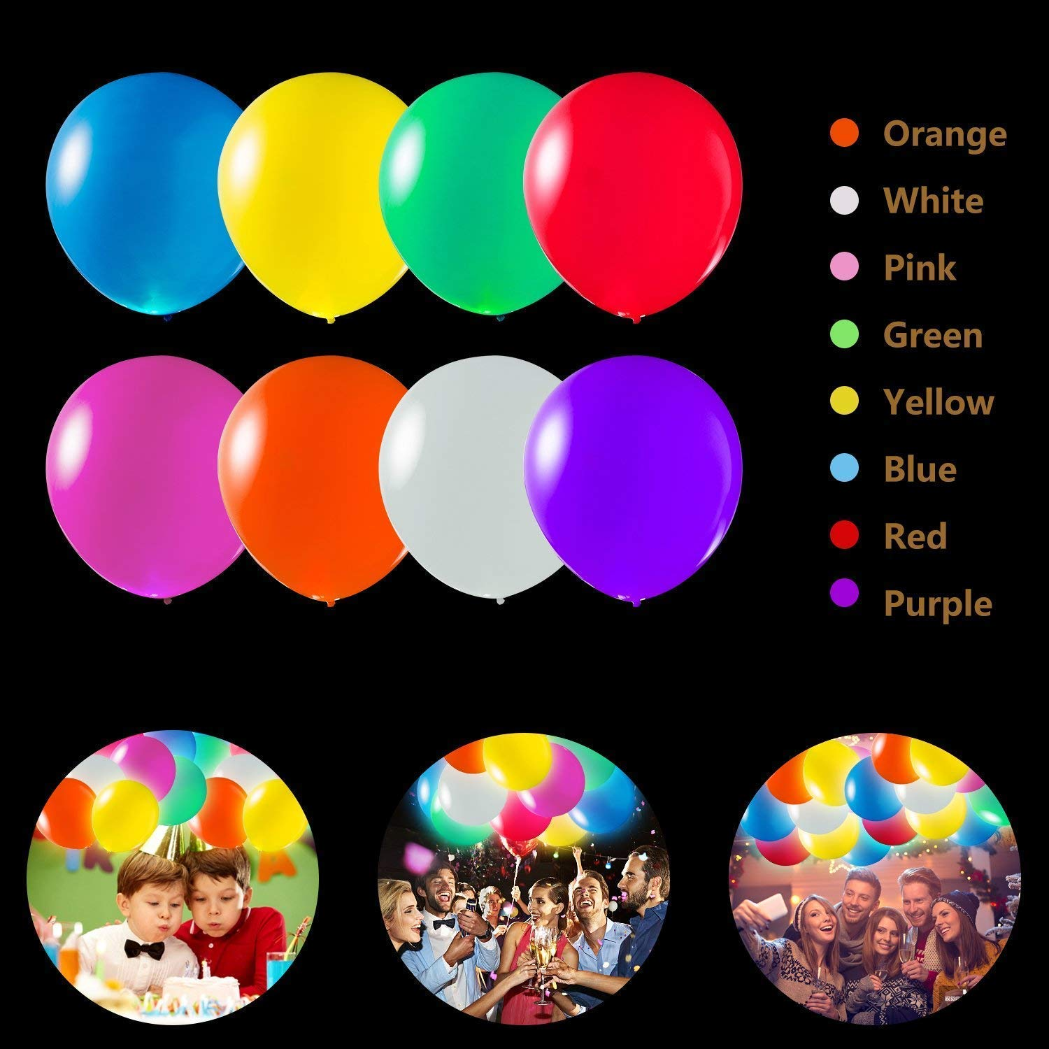 TECHSHARE 32 Pack LED Light Up Balloons, 8 Colors Flashing Lights Glow in The Dark Balloons for Party Supplies Birthday Party Wedding Decorations - Can be Filled with Helium, Air by TECHSHARE (Image #6)
