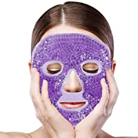 Jakuva Hot and Cold Therapy Full Face Gel Mask, Reusable Facial Mask with Gel Beads for Women Men,Compress Pearl Treatment,Migraine Relief, Reduces Eye Puffiness and Dark Circles(Purple)