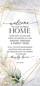 Welcome Wood Plaque Inspiring Quote 5.5 in x 12 in - Classy Vertical Frame Wall Hanging Decoration | Welcome to Our Humble Home | Christian Family Religious Home Decor Saying