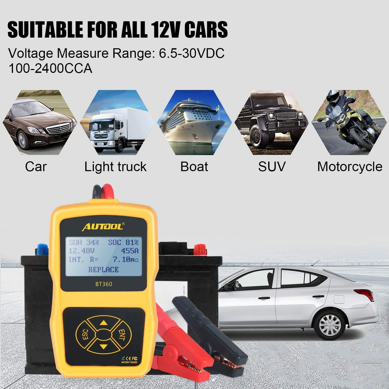BT 360 Car Battery Load Tester Checker 12V 100-2400 CCA Automotive Bad Cell Test Tool Regular Flooded,Auto Cranking and Charging System Diagnostic Digital Analyzer