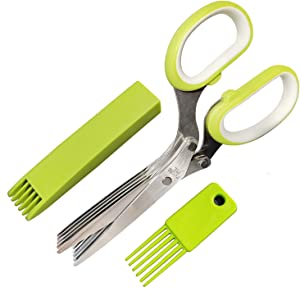 Herb Scissors Set - Kitchen Gadgets for Cutting Fresh Garden Herbs Lettuce Cilantro Onion, Herb Cutter Shears with 5 Blades and Cover, Sharp Anti-rust Stainless Steel, Dishwasher Safe (Green White)