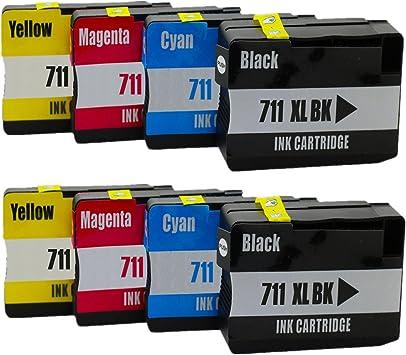 No-Name Cartuchos de Tinta reemplazo para HP 711 XL 711XL HP711 HP711XL Designjet T120 24 T120 610 T520 24 T520 36 T520 610 (2 Negro, 2 Cian, 2 Magenta, 2 Amarillo): Amazon.es: Electrónica