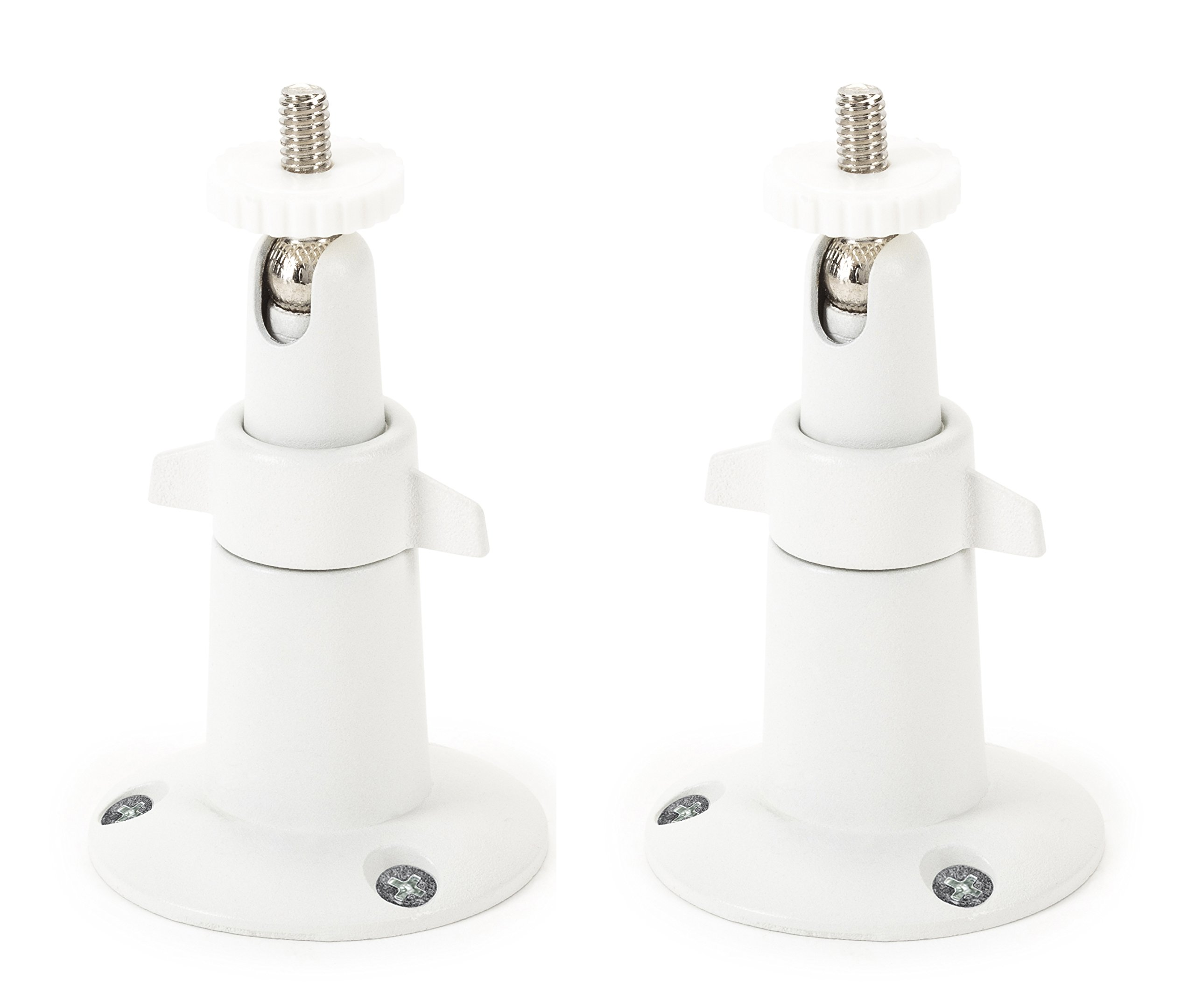 Security Wall Mount- Adjustable Indoor/Outdoor Mount for Arlo, Arlo Pro and Other Compatible Models by Dropcessories (2 Pack - Metal, White)