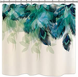 Riyidecor Watercolor Peacock Feather Shower Curtain Teal Blue Turquoise Floral Green Leaf Bathroom Home Decor Set Panel Fabric Woman Waterproof Bathtub 72x72 Inch Included 12 Pack Plastic Shower Hook