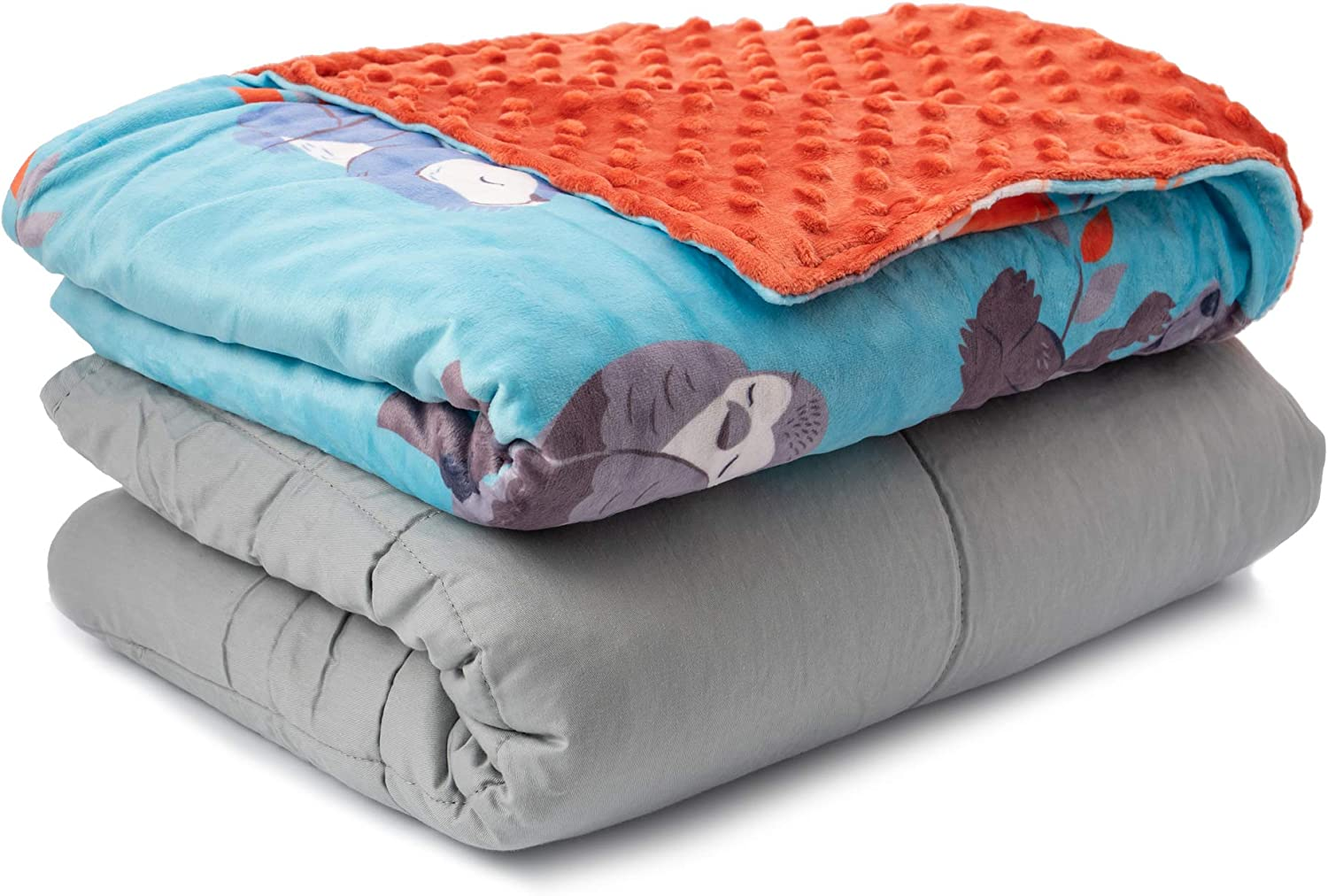 Sweetzer & Orange Weighted Blanket for Kids 7lbs Heavy Blanket, Best for 58-88lb Children - Warming and Cooling Weighted Comforter with Minky Cover (7lb, Sleepy Animals)