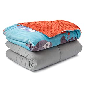 Sweetzer & Orange Weighted Blanket for Kids 5lbs Heavy Blanket, Best for 42-63lb Children - Warming and Cooling Weighted Comforter with Minky Cover (5lb, Sleepy Animals)