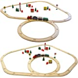 Eyepower 48-teilige Kinder Holzeisenbahn Spielzeugeisenbahn Natur Holz Kinderbahn Set inkl. Zubehör