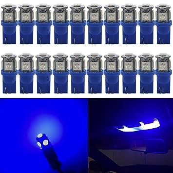 Paquete de 20 luces LED azules 194T10 24V CC, 5