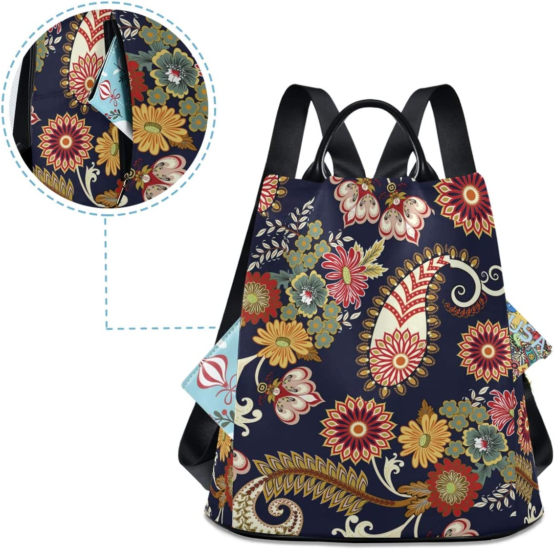 ALAZA Paisley Floral Ethnic Pattern Navy Blue Backpack Purse for Women Anti Theft Fashion Back Pack Shoulder Bag