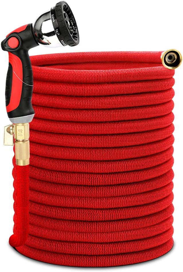 Homes Garden Expandable Garden Hose100 Feet Leakproof, Flexible & Durable, Lightweight, with 3/4 inch Strong Solid Brass & 10 Function Nozzle, No-kink, ON/OFF Valve #G-W026A03-US