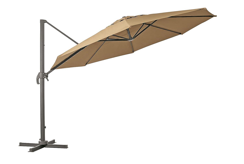 Pendelschirm Kolos 400 360 Grad drehbar und am Mast neigbar von RRR in der Farbe taupe - greige