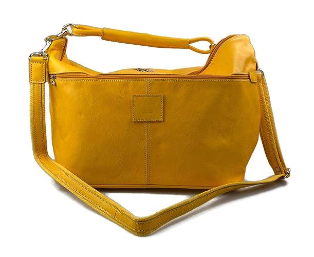 9f17c01fa Bolsa de viaje deportiva mujer bolsa de hombro maleta bolso equipaje de piel  genuina amarillo bolsa