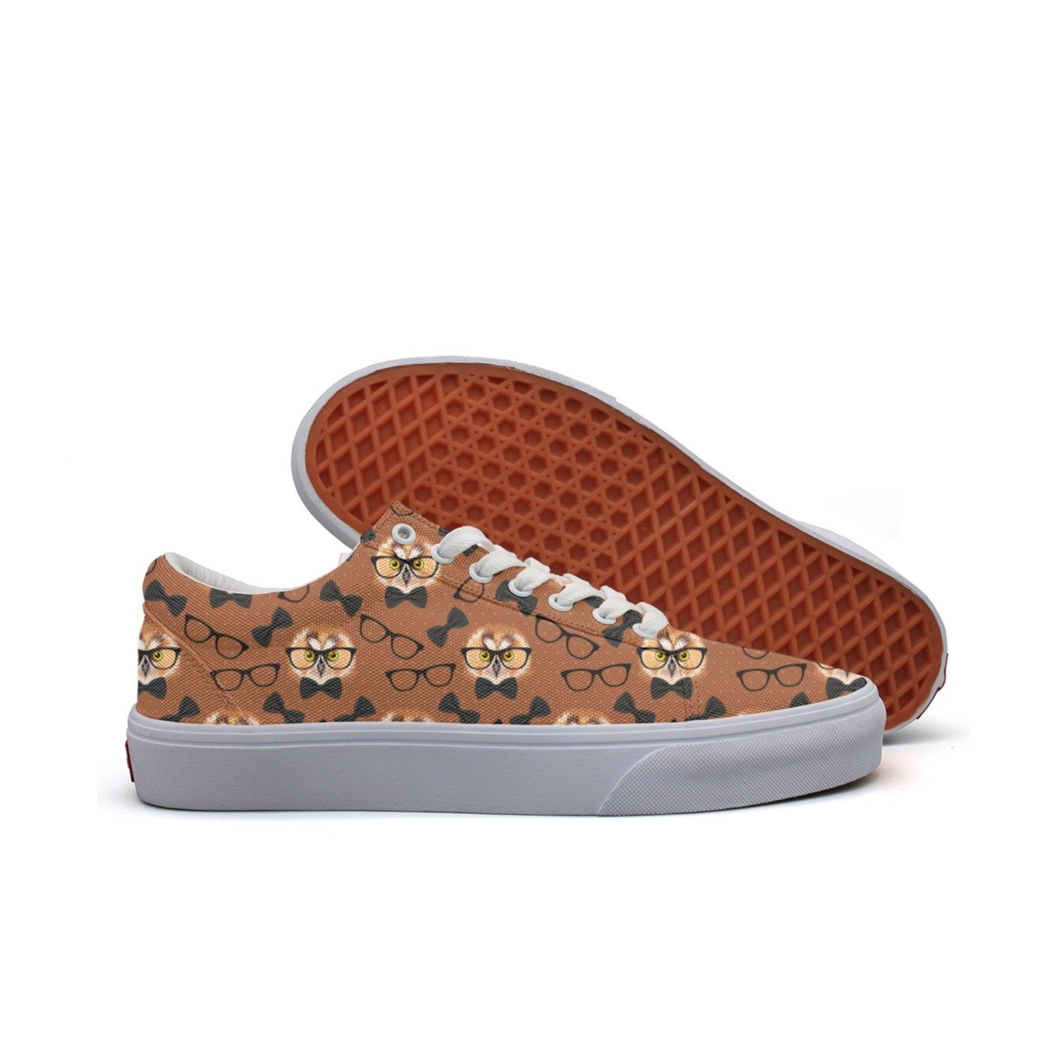 Owl With Glasses Women's Casual Sneakers Flat Slip On Nursing Gym