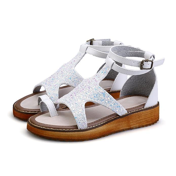 1c139faa739f9 Smilun Lady s Roman Sandal Beach Vacation Sandals Shoes Flat Gladiator  Sandals Roman Sandal Shoes Flip Flops Thongs Summer White UK7.5EU41   Amazon.co.uk  ...