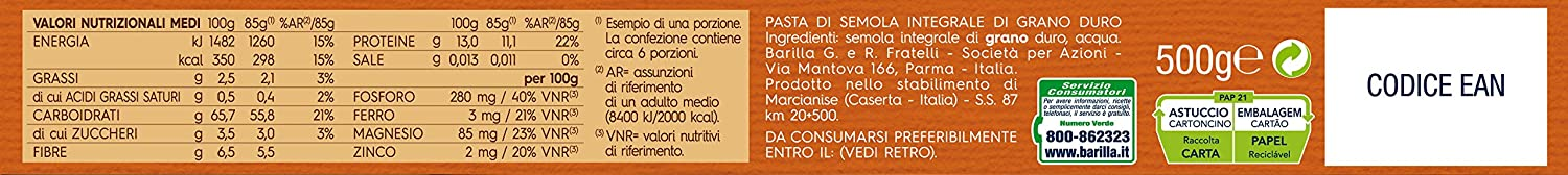 5x Barilla Spaghettini Whole Wheat (Integrale) Italian Pasta 500 g: Barilla: Amazon.es: Alimentación y bebidas