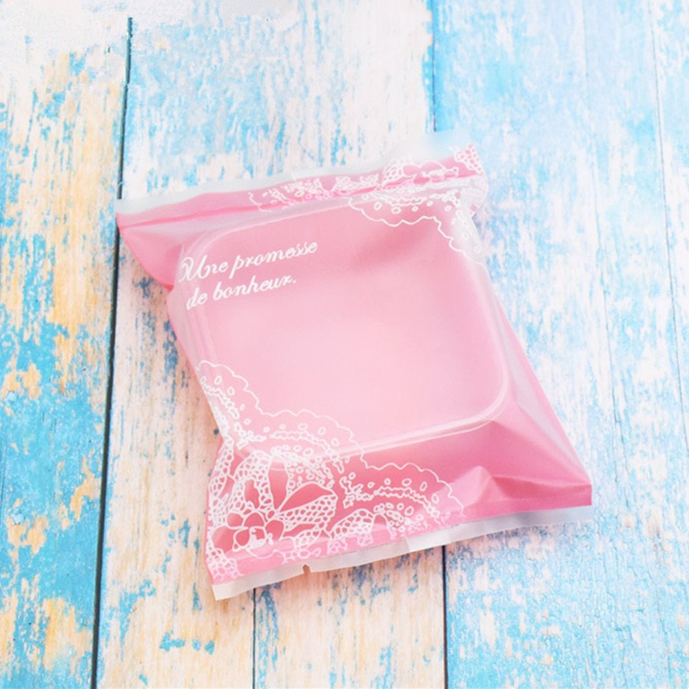 100g Pink Lace Moon Cake Plastic Bags Hot Seal Cookie Candy Bag With Trays 100 Sets (100G)