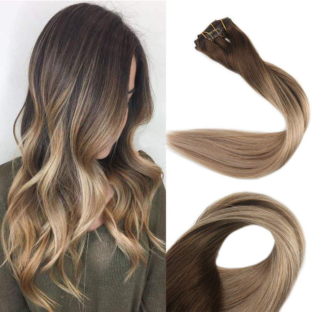 Full Shine 18 inch Clip in Colored Hair Extensions Balayage Hair Highlight Color #4 Fading to #18 and #27 Straight Clip in Extensions by Full Shine