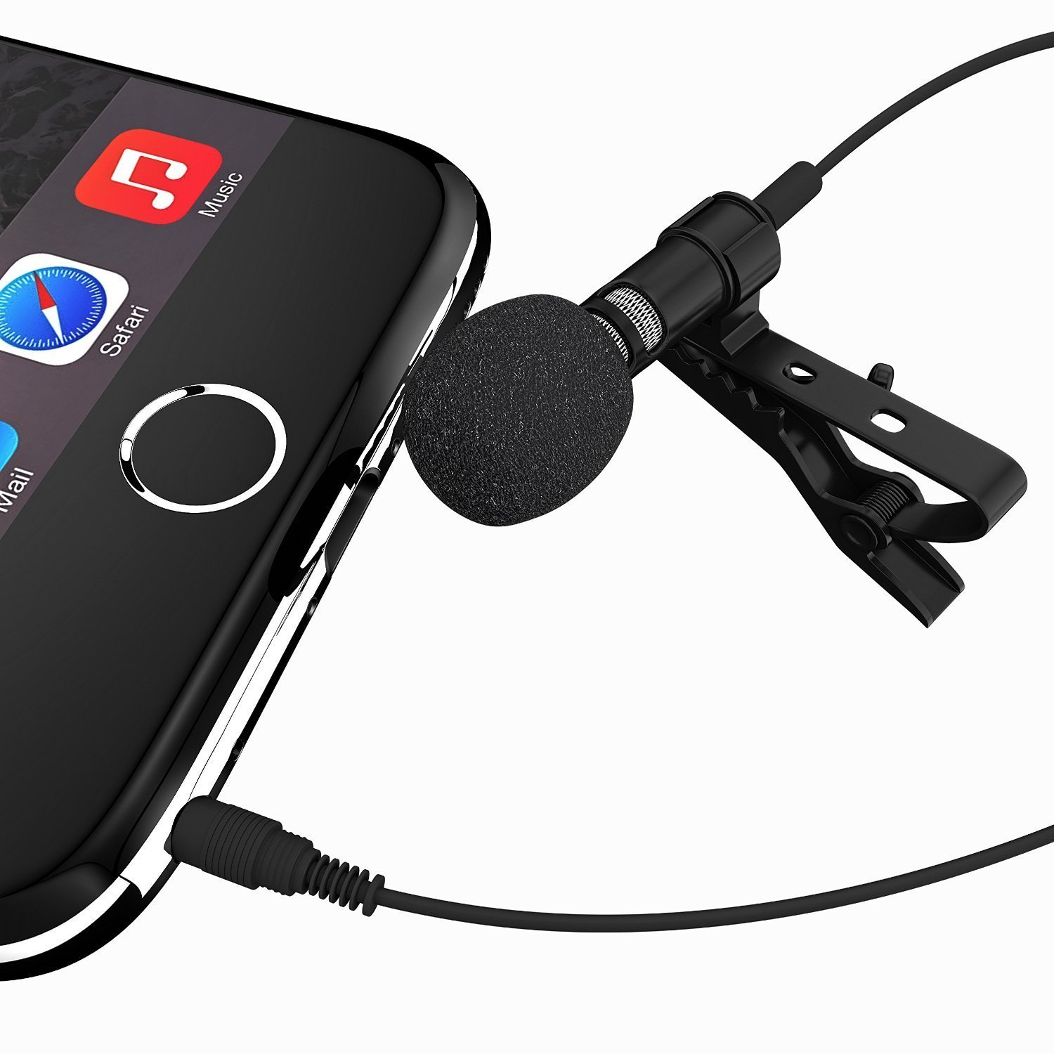 Alemon Lavalier Lapel Microphone 3.5mm TRRS Plug Clip-on Omnidirectional Condenser Microphone for iPhone, iPad, iPod Touch, Android and Windows Smartphones,Youtube,Interviews ALM-300
