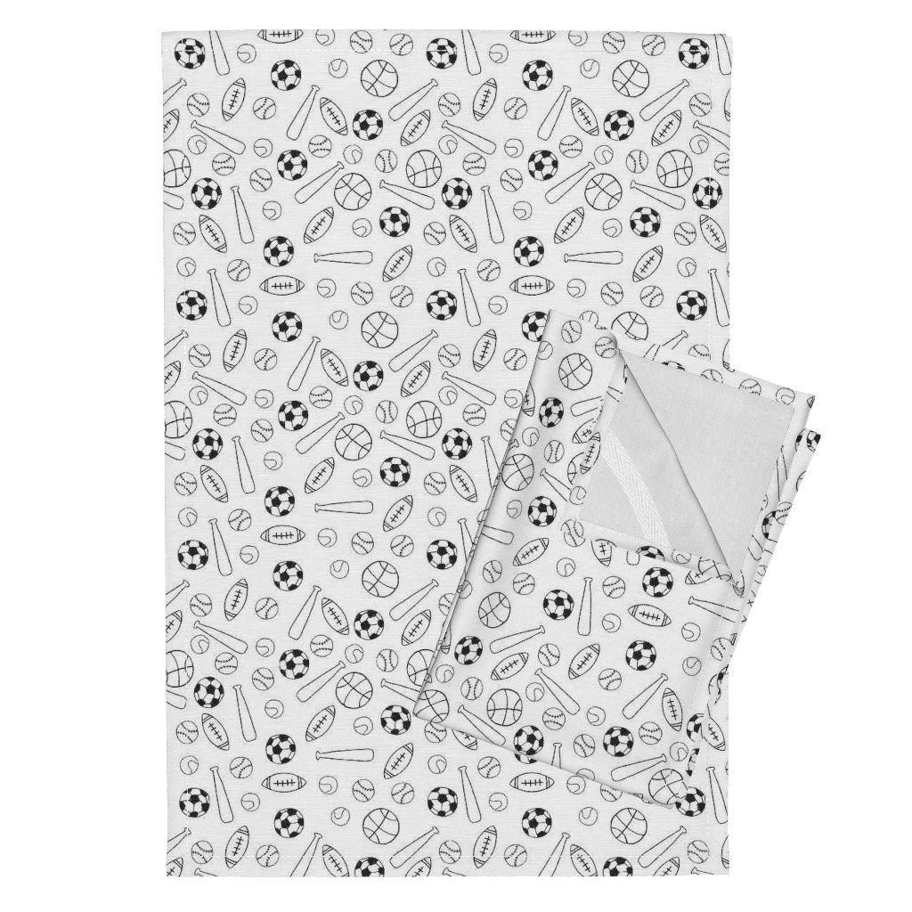 Roostery Game Playground School Black and White Tennis Football Soccer Tea Towels Sports Fabric Black and White by Andrea Lauren Set of 2 Linen Cotton Tea Towels