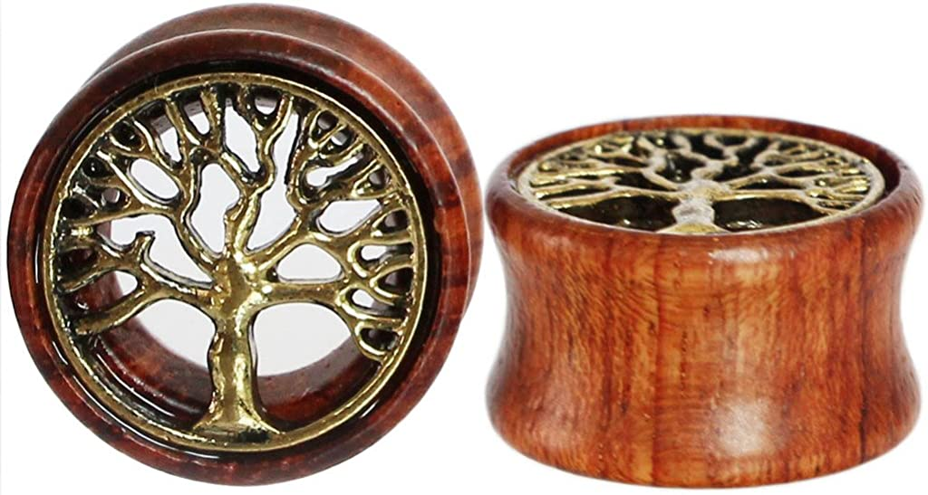 Oasis Plus Tree of Life Organic Wood Flesh Tunnels Double Flared Ear Stretcher Saddle Plugs Gauge 8mm - 20mm