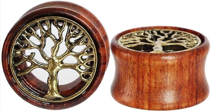 Plug para oreja de Oasis Plus, árbol de la vida, madera orgánica ...