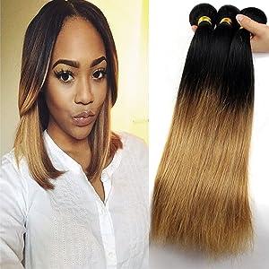 Babe Hair Straight Blonde Ombre 2 Tone 7A Brazilian Virgin Hair Sew-In Extensions Silky 100% Human Hair 2 Bundles