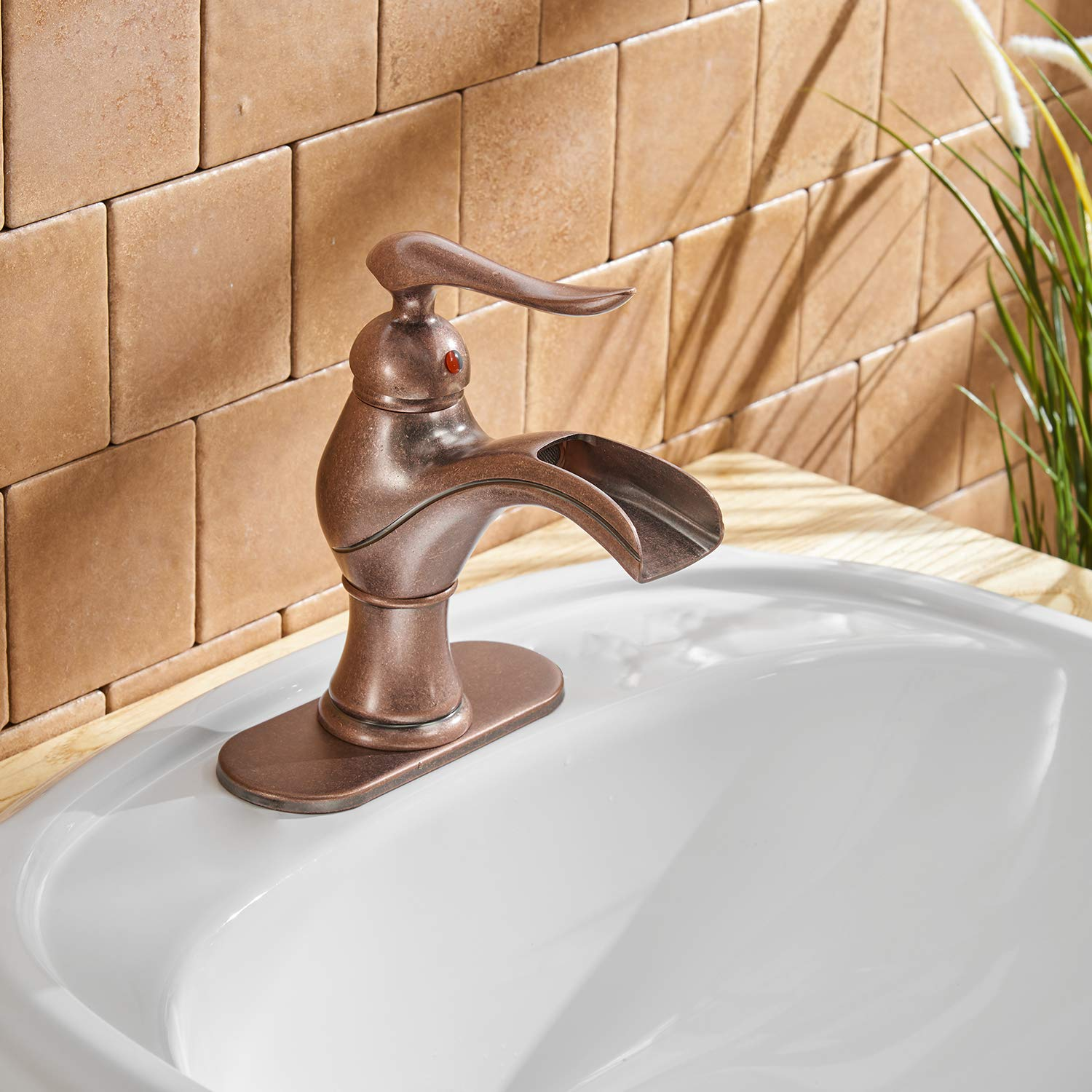 BWE Waterfall Single Handle Hole Lavatory Vanity Basin Bathroom Sink Faucet Antique Brass Copper Commercial