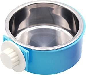 UNIEVE Crate Dog Bowl,Removable Stainless Steel Hanging Pet Cage Bowl,2 in 1 Plastic Bowl&Stainless Steel Removable Hanging Food Water,for Dogs,Cats,Birds,Cats and etc.