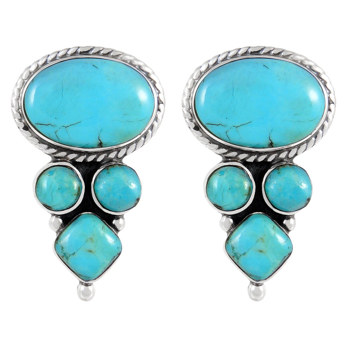 925 Sterling Silver Earrings Genuine Turquoise (Turquoise)