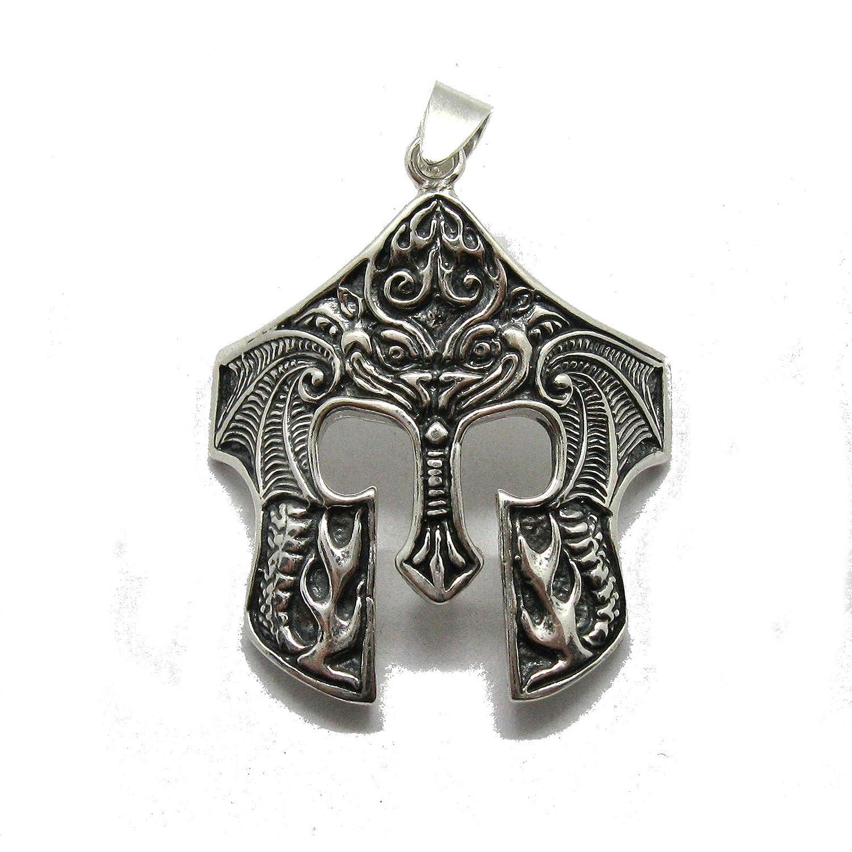 Hecho a mano colgante de plata de ley 925 Casco espartano PE001309: Amazon.es: Handmade