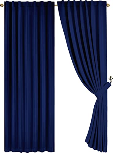 Chezmoi Collection Back Tab Blackout Window Curtain Thermal Insulated Drapes for Living Room 52 W x 84 L inches Navy, 2 Panels