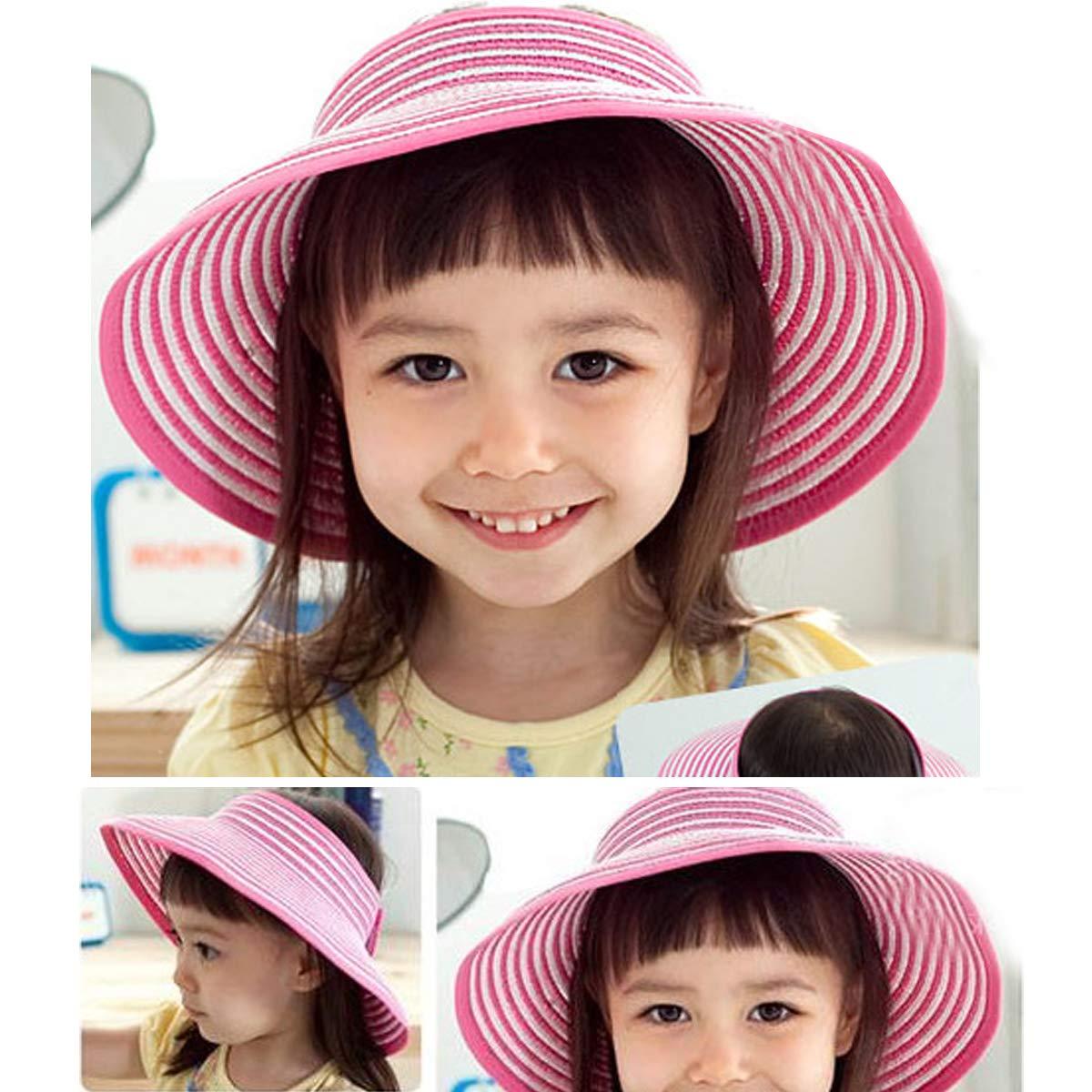 Rose Red Children Summer Sun Protection Beach Folding Wide Brim Stripe Straw Hat Cap Sunhat
