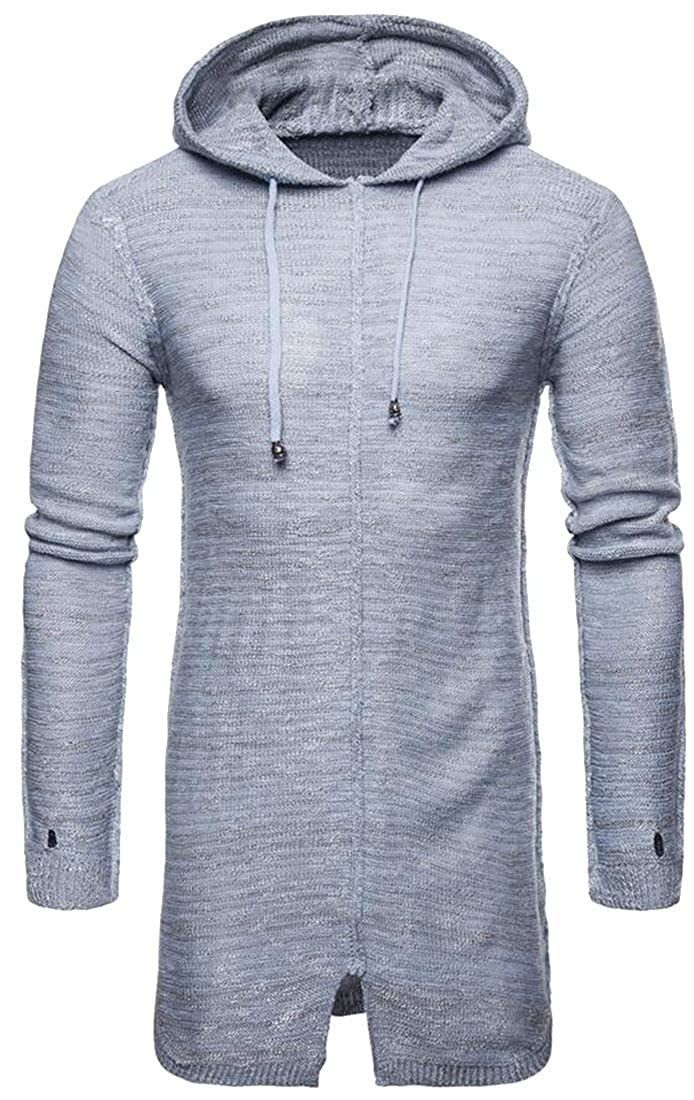 Pivaconis Men Mid Length Hooded Knit Winter Pure Color Long Sleeve Pullover Sweater