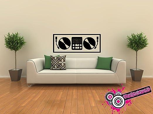 Mesa de mezclas DJ Vinylworld Arte de la pared del vinilo adhesivo ...