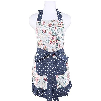 Las mujeres algodón Neoviva delantal con bolsillos y volantes para cocina insolencia, forro aplique,