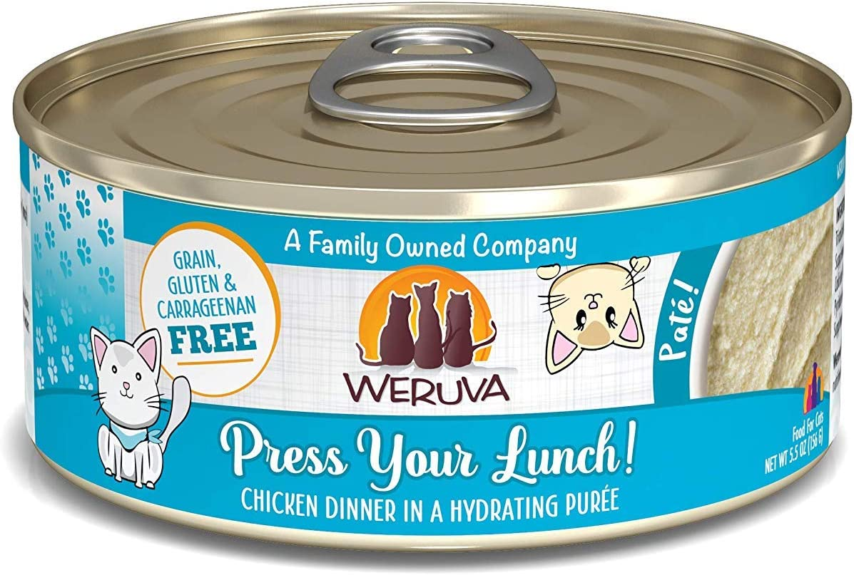 Weruva Classic Cat Paté, Press Your Lunch! with Chicken, 5.5oz Can (Pack of 8)