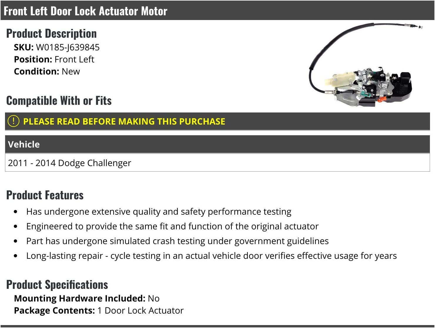 Front Left Driver Side Door Lock Actuator Motor Compatible with 2011-2014 Dodge Challenger