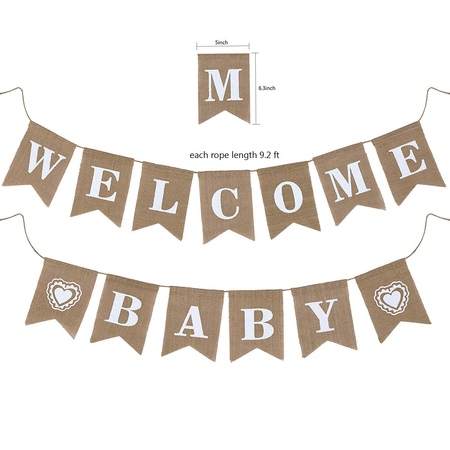 YARA Neutral Baby Shower Decorations for Coed, Unisex, Boy or Girl, Rustic Welcome Baby Banner in Burlap, Tassels, Gold and White Gender Neutral Baby Shower Decor Set, Gold Paper Fans Decorations by Yara Enterprises (Image #5)