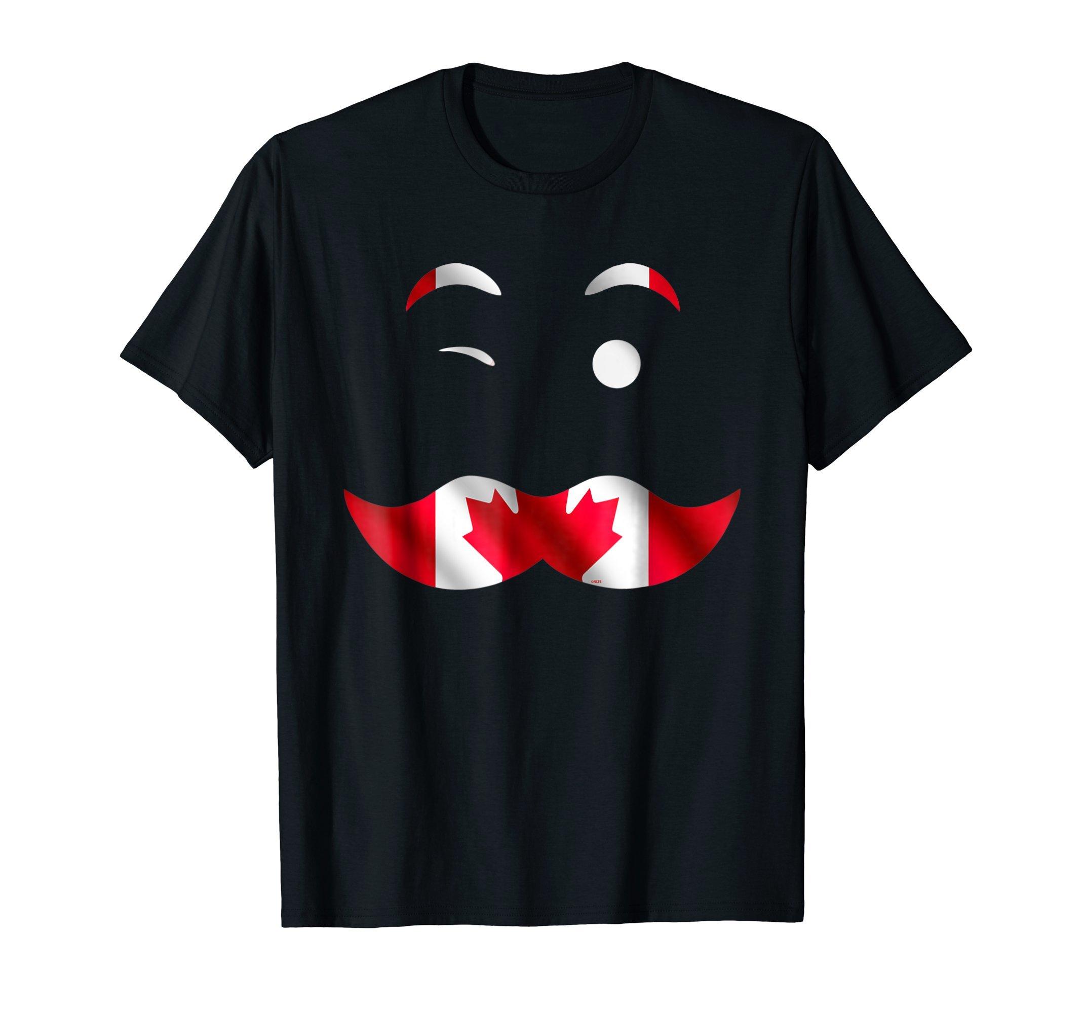 Canadian-Flag-Face-Mustache-T-Shirt-Tee-Shirt-Gift