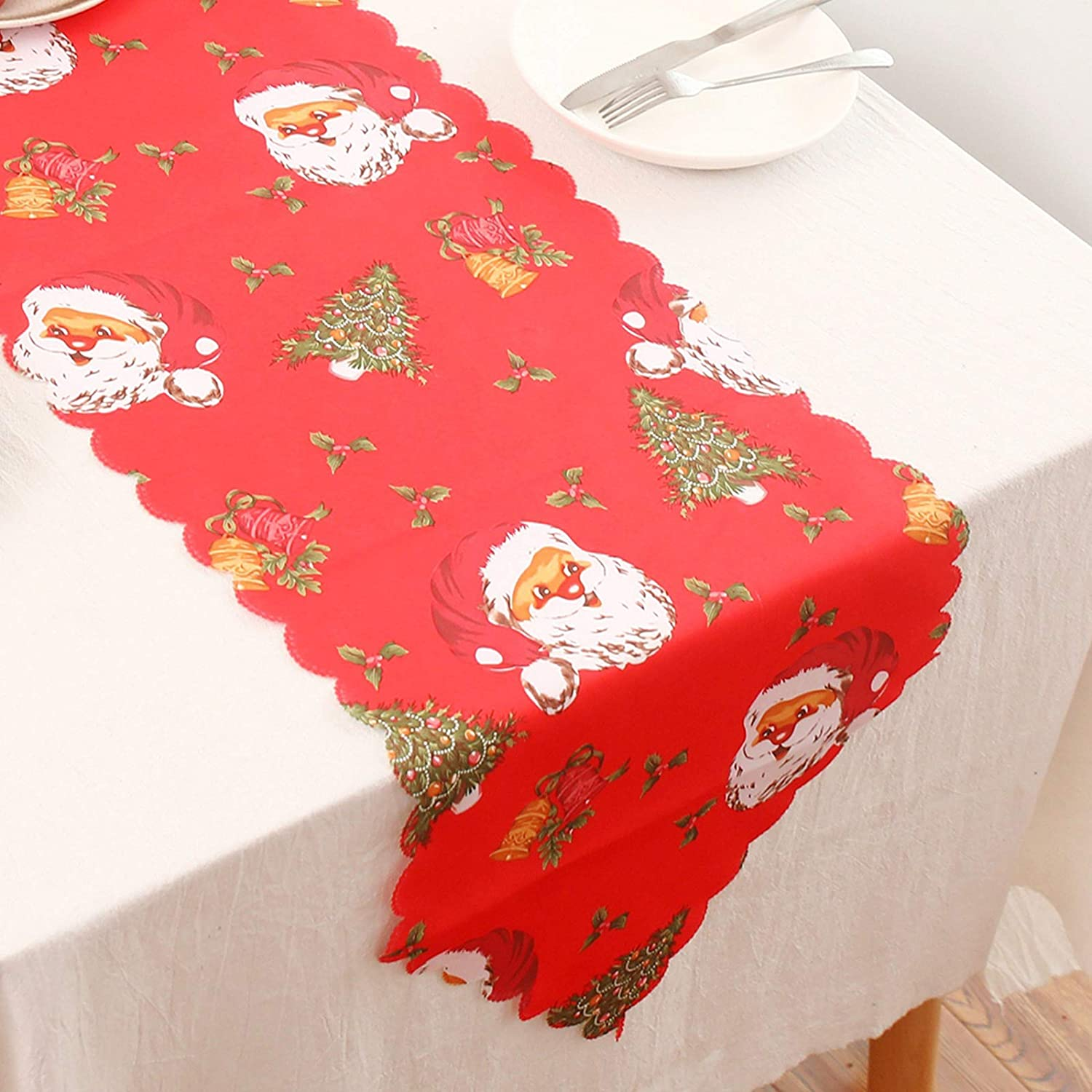 Reusable Decorative Printed Tassels YancLife Christmas Table Runner Washable Personalized Family Table Decoration for Party Restaurant Table Mats Wedding