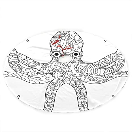 Amazon.com: Jnseff Christmas Tree Skirt Octopus Sea Animal Coloring Book  For Adults Raster Print Skirt Christmas Tree Polyester Rustic Christmas  Tree Skirt Carpet For Party Holiday Decorations Xmas Ornaments: Home &  Kitchen